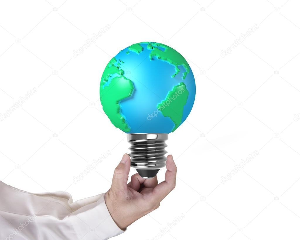 Lampade Globo A Basso Consumo : Lampadina di forma di globo con la mano dell uomo che tiene u foto
