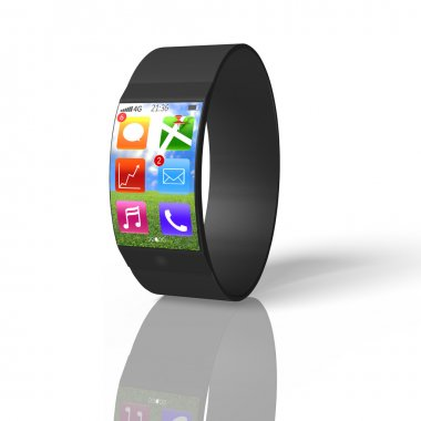 Ultra-thin curved screen smart watch isolated on white