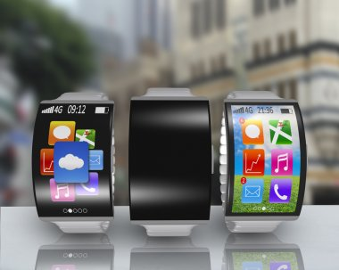 group of ultra-lightweight curved screen smartwatch with steel w