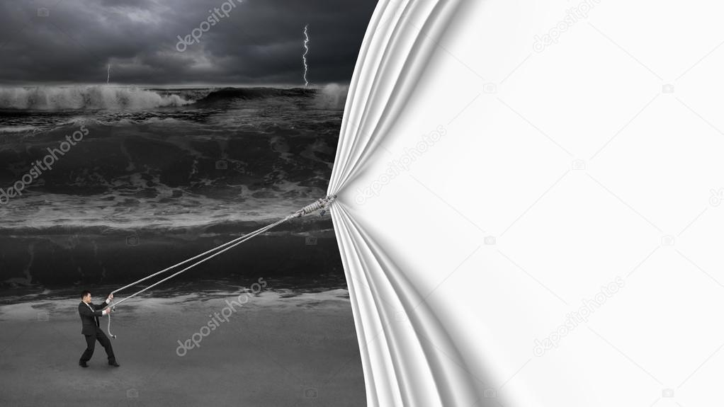 businessman pulling open blank curtain covered dark stormy ocean