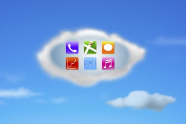 colorful app icons on white cloud with nature blue sky