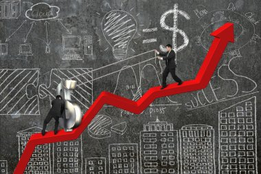 two businessmen moving dollar sign upward on red trend chart