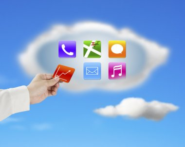 hand taking away app icon from cloud with nature sky