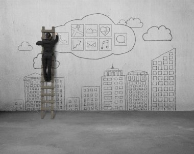 Businessman climbing and drawing app icon with sky buildings doo