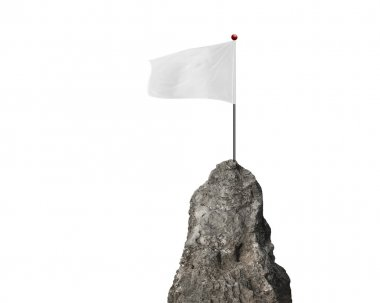 blank flag with the mountain peak isolated on white