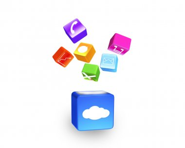 Cloud box illuminated colorful app icons floating isolated on wh