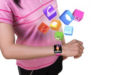 Sport female wearing touchscreen smartwatch with colorful app ic