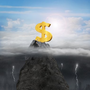 Businessman hand wanting dollar sign on peak with sunny stormy