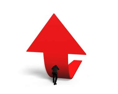 Man pushing red trend 3D arrow upward