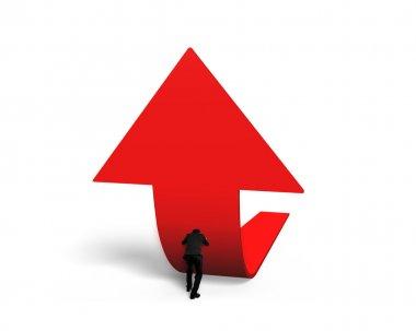 Man pushing red trend 3D arrow upward