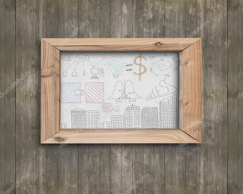 Whiteboard wooden frame with business concepts doodles brown woo ...