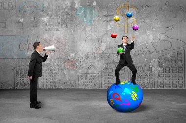 Boss using speaker yelling businessman juggling with currency sy