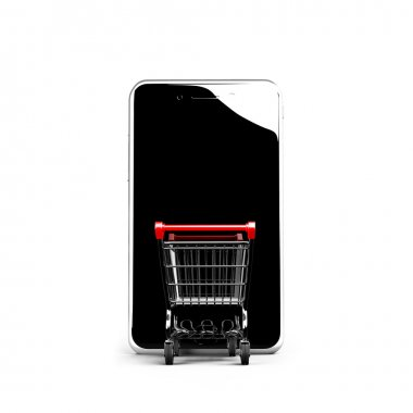 Shopping cart going into smart phone with black glass touchscree