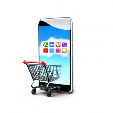 Shopping cart and smart phone with colorful app icons touchscree