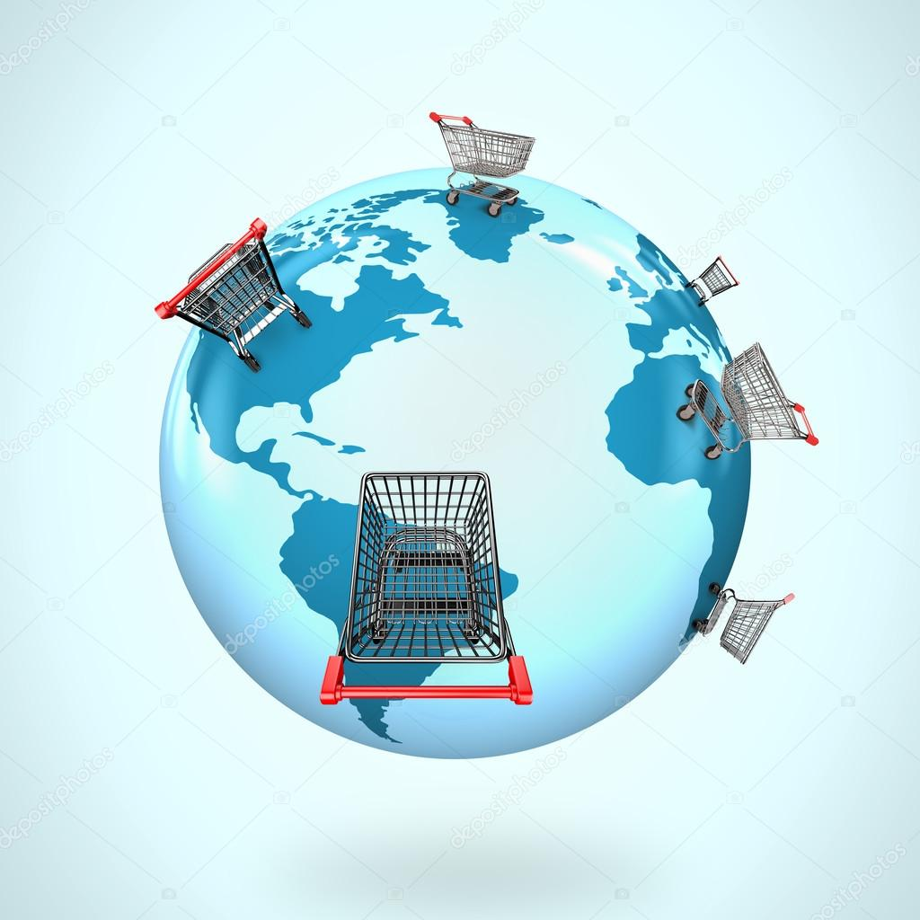 3d globe with world map of shopping carts worldwide stock photo