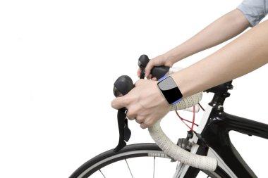 Biking woman hands wearing smartwatch with blank touchscreen