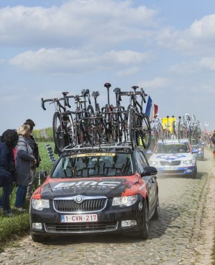The Car of BMC Racing Team on the Roads of Paris Roubaix Cycling