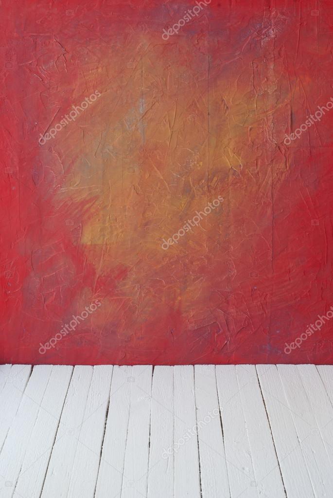 Leeren Einer Farbe Interieur Der Zimmer Vintage Ohne Decke Aus