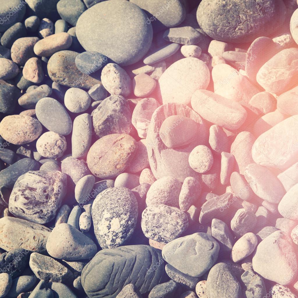 Beach stones, close-up.