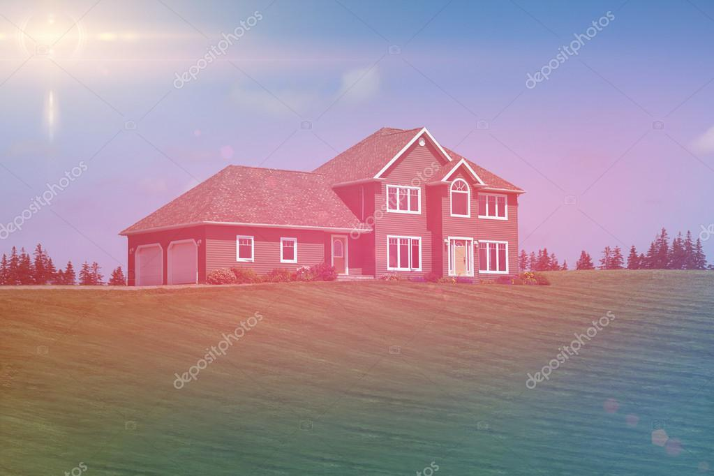 House with grass yard
