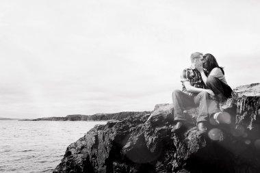 Caucasian couple near the ocean