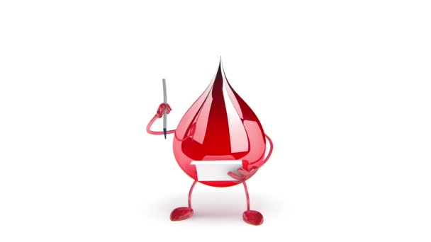 Červená krevní kapka kreslená postavička