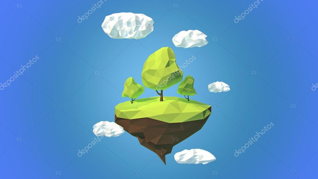Floating island with trees and clouds in the sky