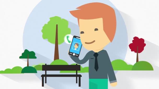 Plochý design charakter ilustrace na celé délce oblek oblečený obchodní muže s Kobaltová modř telefon