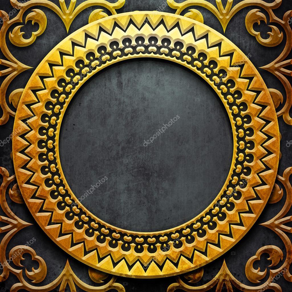 Marco del metal oro sobre negro metal — Fotos de Stock © caesart ...