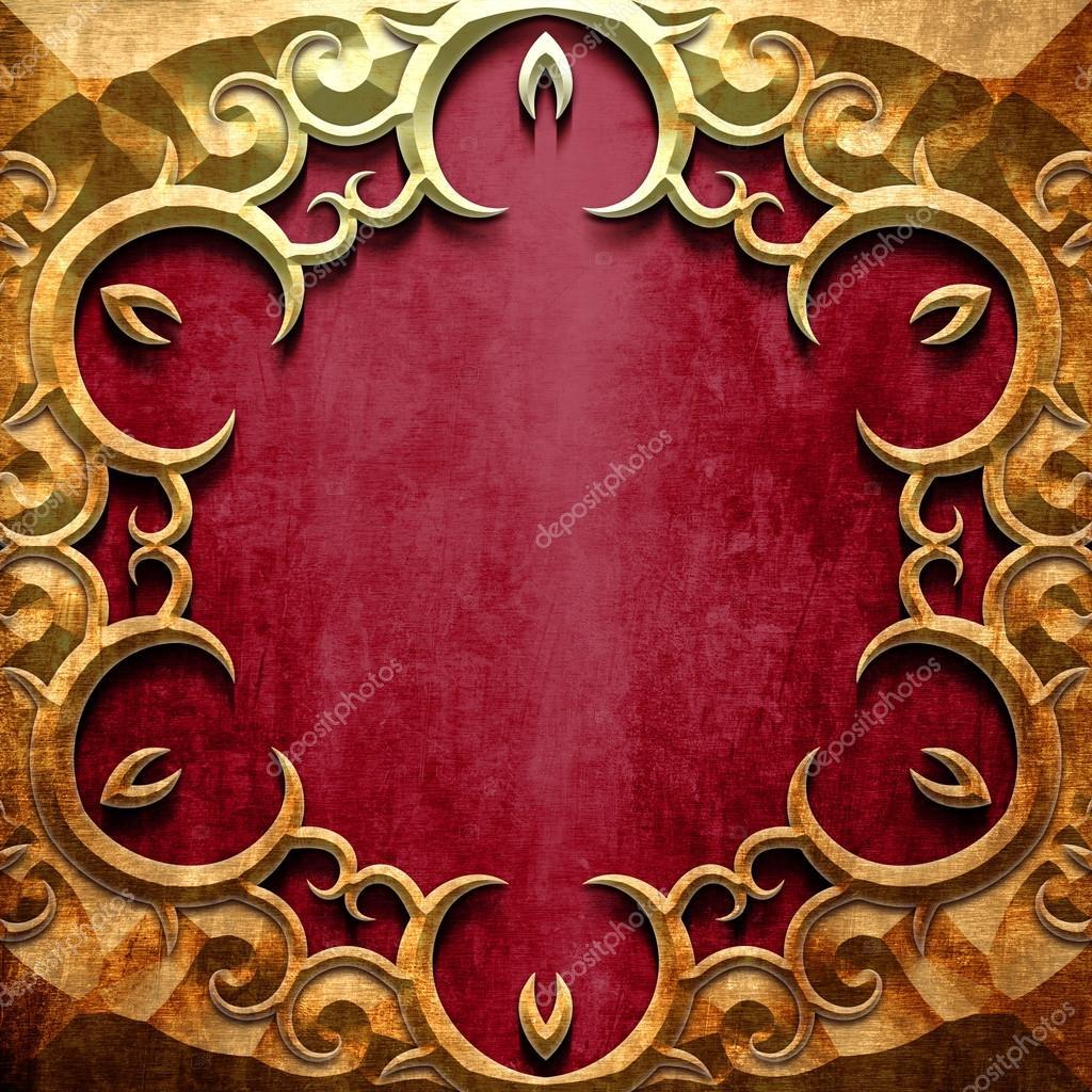 Marco del metal oro sobre rojo metal — Foto de stock © caesart #83564290