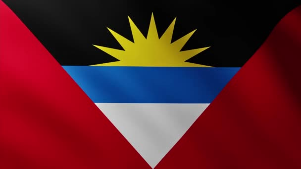 Large Flag of Antigua and Barbuda fullscreen background fluttering in the wind