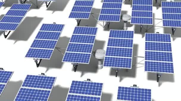 Pole solárních panelů, který po slunci