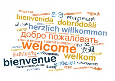 Welcome multilanguage wordcloud background concept