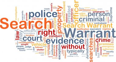 Search warrant background concept wordcloud