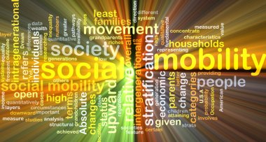 Social mobility wordcloud concept illustration glowing
