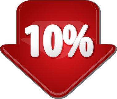 Ten percent down arrow bubble illustration