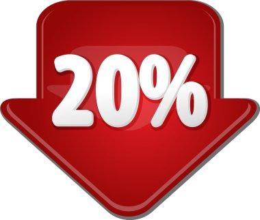 Twenty percent down arrow bubble illustration