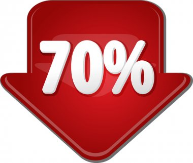 Seventy percent down arrow bubble illustration