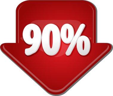 Ninety percent down arrow bubble illustration