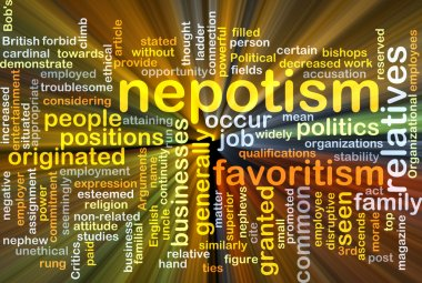 Nepotism background concept glowing