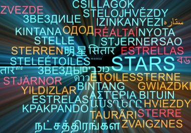 Stars multilanguage wordcloud background concept glowing