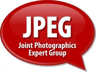 JPEG acronym definition speech bubble illustration