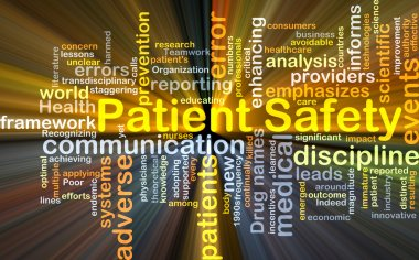 Patient safety background concept glowing
