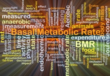 Basal metabolic rate BMR background concept glowing