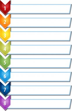Eight blank business diagram chevron list illustration