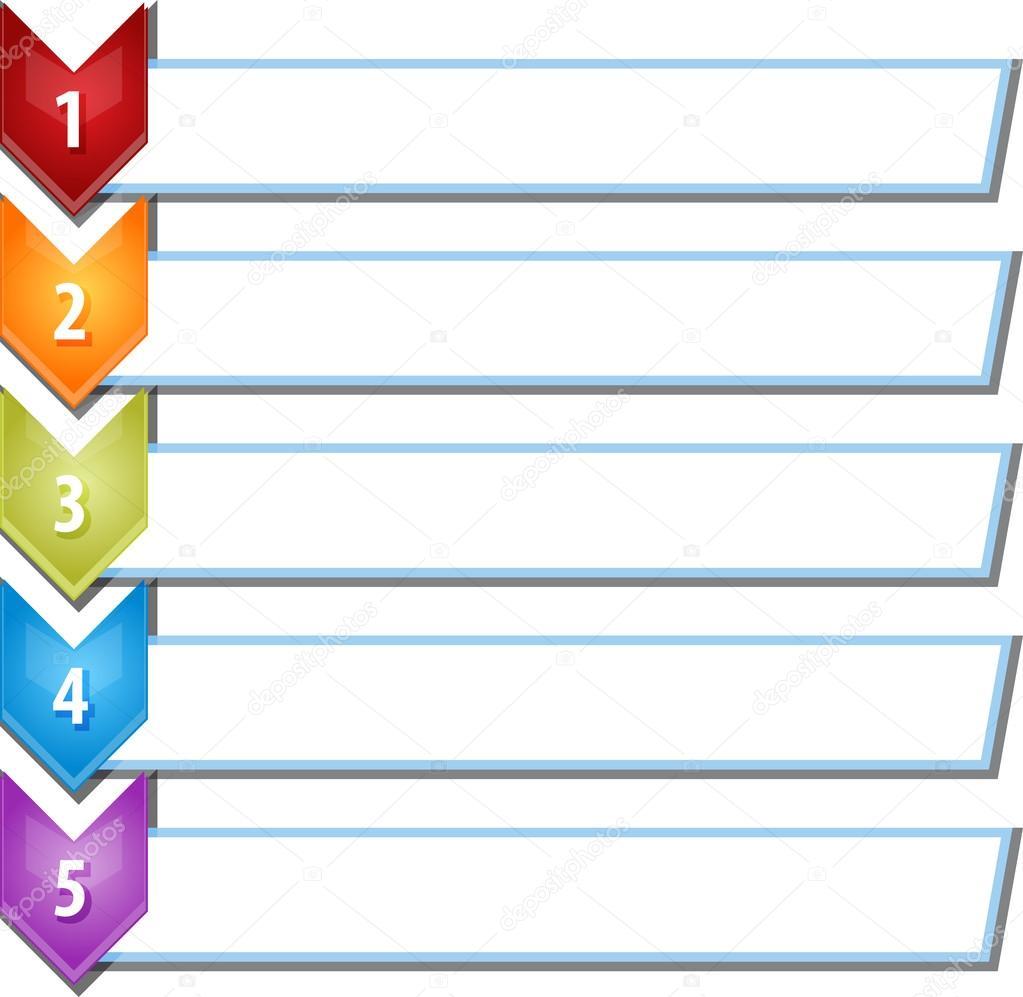 Five blank business diagram chevron list illustration