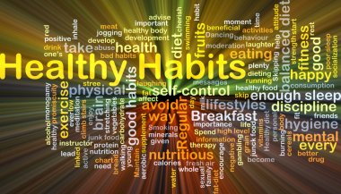 Healthy habits background concept glowing
