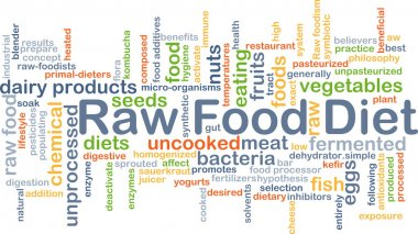 Background concept wordcloud illustration of raw food diet stock vector