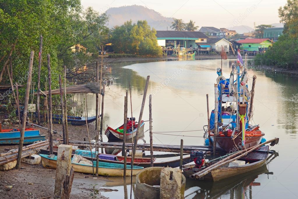 Fishing boats in Ranong Pier, Thailand