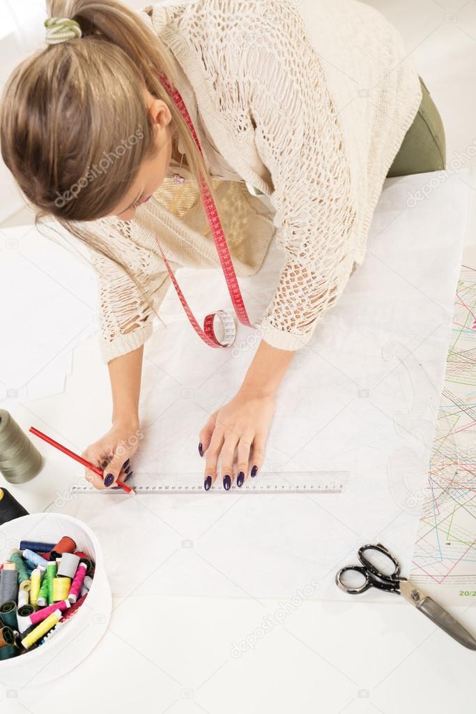 Fashion Designer With Sewing Pattern — Stock Photo © MilanMarkovic ...